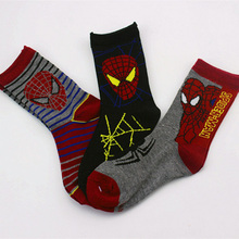 2015 New Baby Socks 3 Pairs Lot Boys Girls Spiderman Top Quality Children Cartoon Character Socks