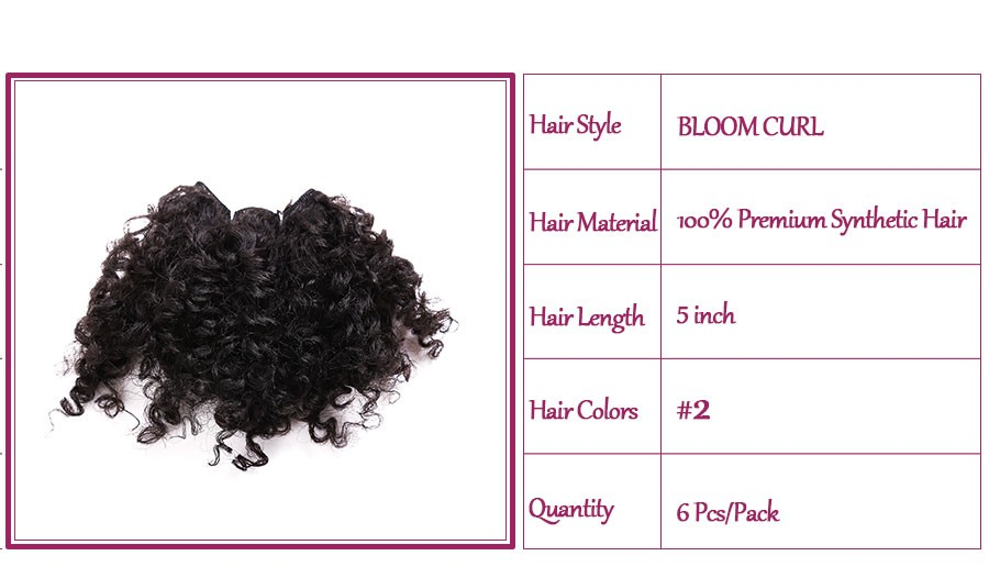 Gold Noble Bloom curl 6pcs/pack 5inch short jerry kinky curly premium synthetic hair extensions of weaving hair weft