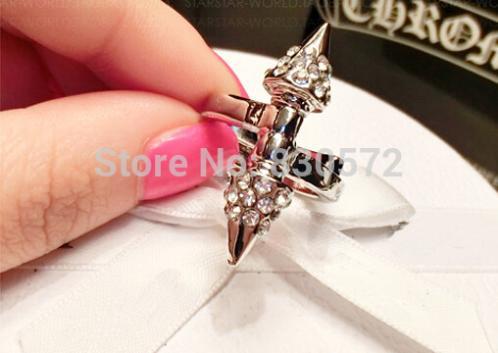 2015 korean punk ring woman vintage silver gold tone crystal rivet nail rhinestone midi finger rings womens anel jewelry gift(China (Mainland))