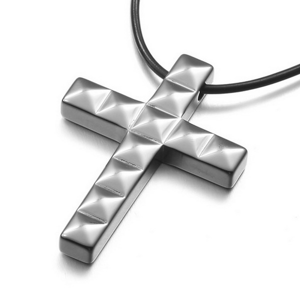 Men Jewelry Leather Tungsten Pendant Necklace Gothic Black Silver Cross Vintage Polished 22 inch Chain free shipping(China (Mainland))