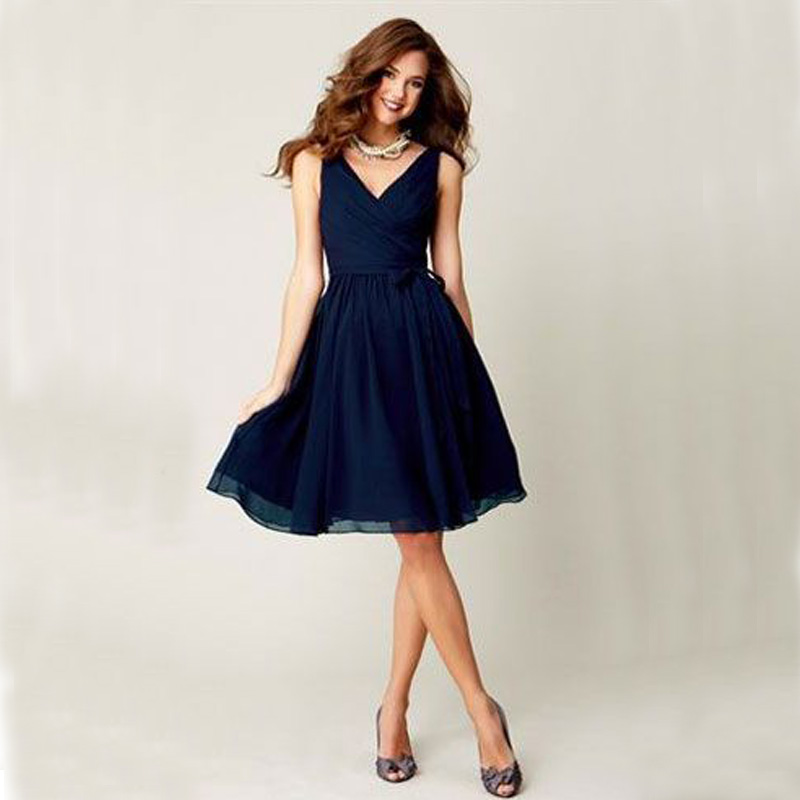 Popular Short Navy Blue Bridesmaid Dress V Neck-Buy Cheap Short ...