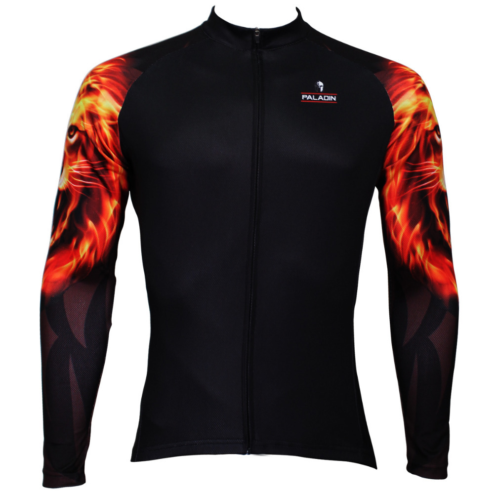 2016 New Flame African lion Men Long Sleeve Cycling Jersey Full Zipper Bike Shirt Polyester Breathable Ropa Ciclismo size S-6XL(China (Mainland))