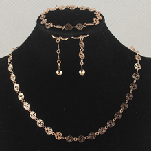 Newest 2014 Gift Free Shipping Stylish Women/Girls' 14k Gold Filled Hollow & Bead Necklace Bracelet Earrings Jewelry Set BB1957(China (Mainland))