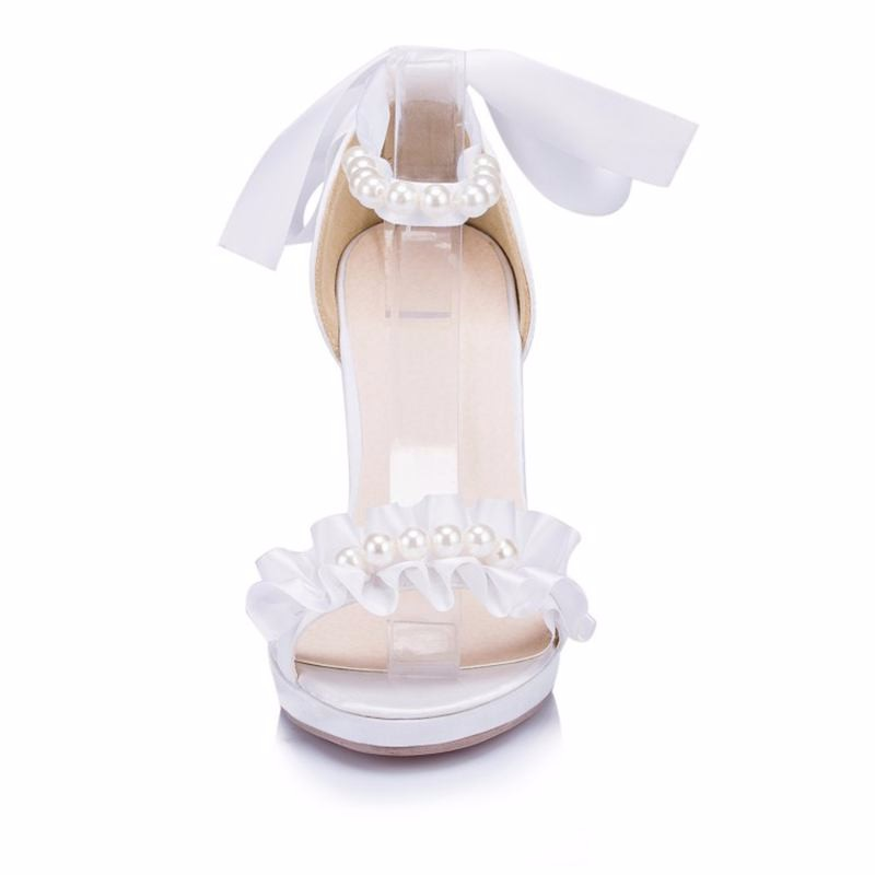 ซื้อ หรูหราซาตินรองเท้าเจ้าสาวดอกไม้สีขาว/สีงาช้างผู้หญิงรองเท้าพรรคขนาดบวกเซ็กซี่เพื่อนเจ้าสาวShoesHighส้นEU33-41 JYG276