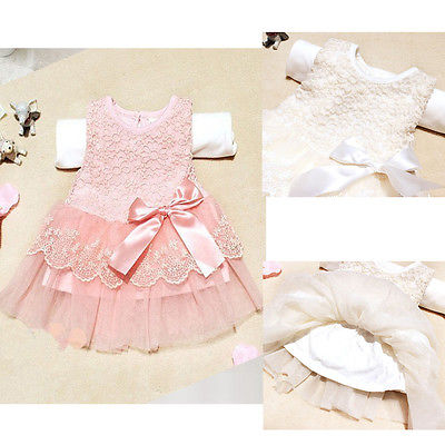 Chistmas Baby Girls Tutu Cute Dress White Pink Party Lace Bow Flower Wedding Gown Dresses White Pink 6 12 18 24 Monthes<br><br>Aliexpress