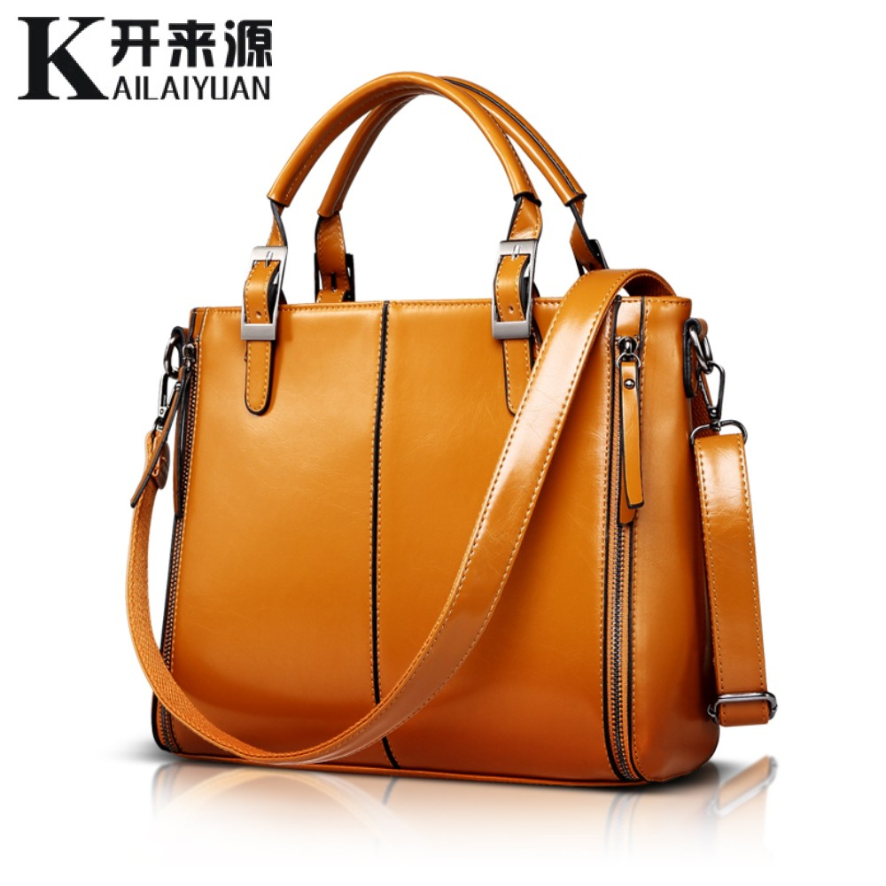 KLY 100% Genuine leather Women handbags 2017 New Fashion Handbag Brown Women Bag Vintage Messenger Bag Office Ladie Briefcase(China (Mainland))