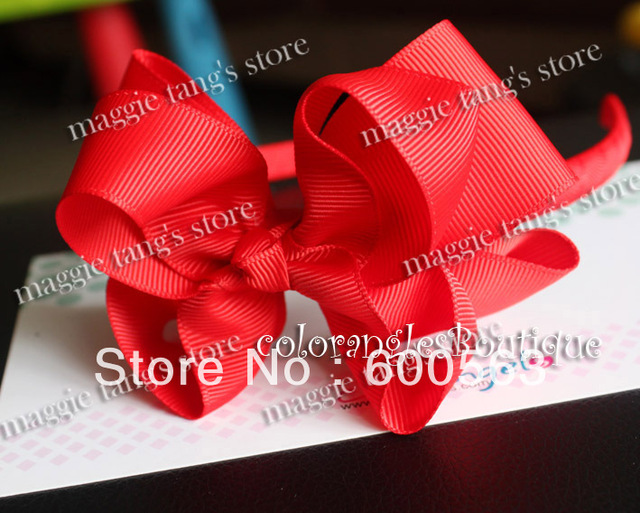 """Multi-Color 4.5"""" 2 Layer Baby handmade headband hairband grosgrain head band Boutique hairbows Red B016"""