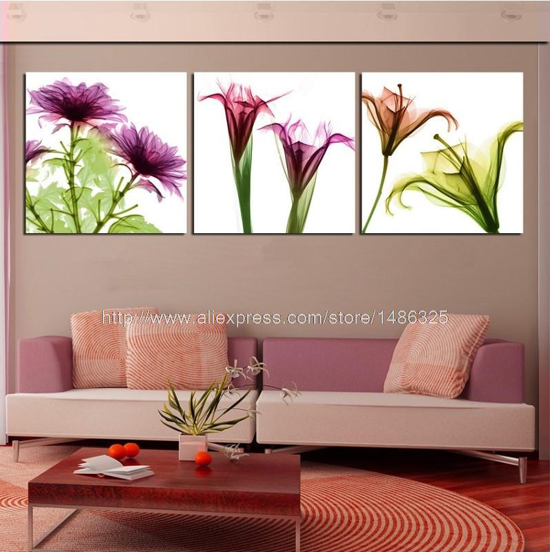 3 panel wall art dear excellent simple art flowers for our for Our home decor