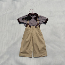 Good Quality Summer Style Baby Boys Clothes Set Gentleman Style Infant Kids Clothing Suit Children Stripe Shirts +Bib