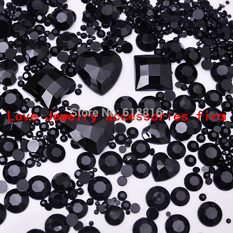 Black Mix size Round Acrylic Flatback Rhinestone Gems Crystal Chaton DIY Phone case Nail art Beads deco supplies - Love Jewelry accessories firm store