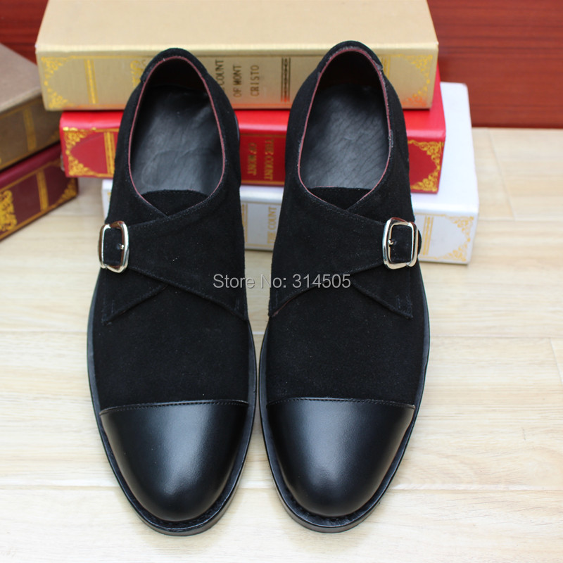SKP82 Custom Handmade Suede + Calf Leather Upper/outsole/Insole Black Monk Strap Square Captoe Toe Mens Flats Shoes<br><br>Aliexpress