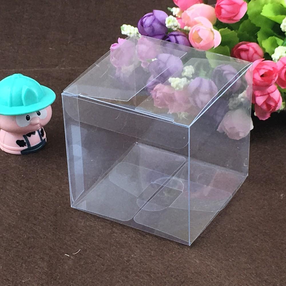 Gold Favor Boxes 4x4x4 : Pcs cm simple clear wedding pvc box