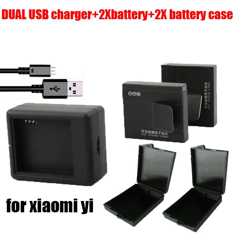 New 2pcs original 1010maH xiaomi bateria Xiaoyi yi Camera battery + USB charger 3.7V sport xiaomi Xiaoyi Sport camera Accessory(China (Mainland))