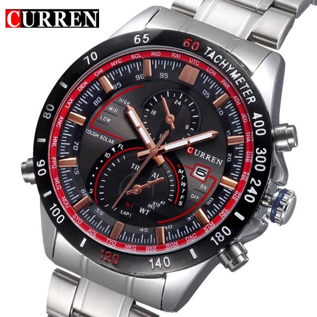 Полный стали кварцевые часы мужчины люксовый человек наручные часы Relojes хомбре спорт военные аналоговый наручные подарков нью-curren