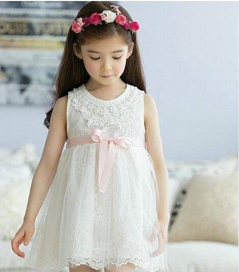 2015 New Fashion Summer Sleeveless Lace Flower Girls Mesh Tulle Dress Children Vest Gauze Dress Garment White Pink(China (Mainland))