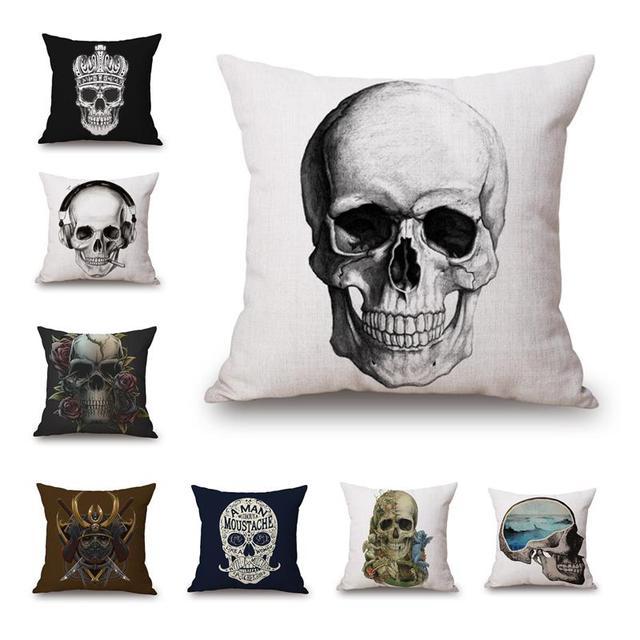 skull decorative pillows cushion home decor throw pillow 45x45cm cushion cover decorative throw pillows case cotton