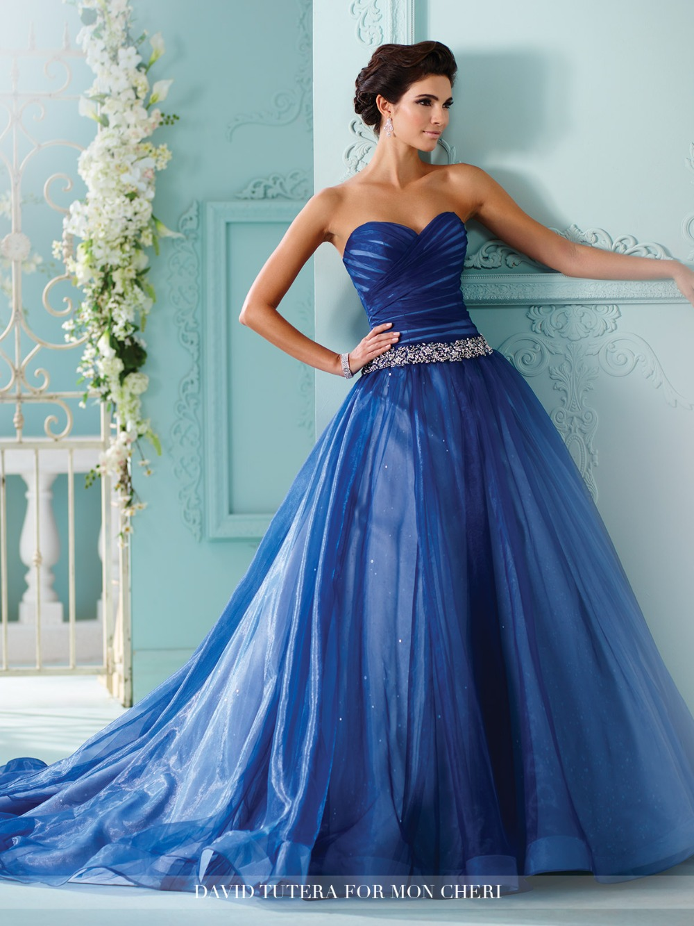Custom Made 2016 Новый Дизайн Бальное платье Милая Тюль Кристалл Sash Женщины Свадебные Платья Свадебное Платье vestido де noiva TO24