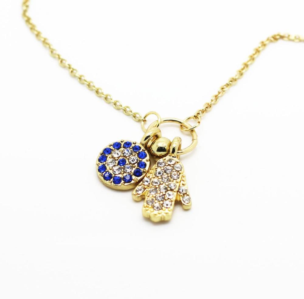hamsa pendant necklace gold tiny fatima jewelry evil eye pave beads kabbalah necklace nice gift to girl female jewelry(China (Mainland))