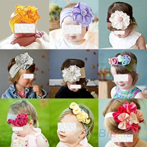 Cute Baby Infant Kids Girls Hair Head Band Decoration Multi Style Flowers Elastic Headband Headwear Accessories(China (Mainland))