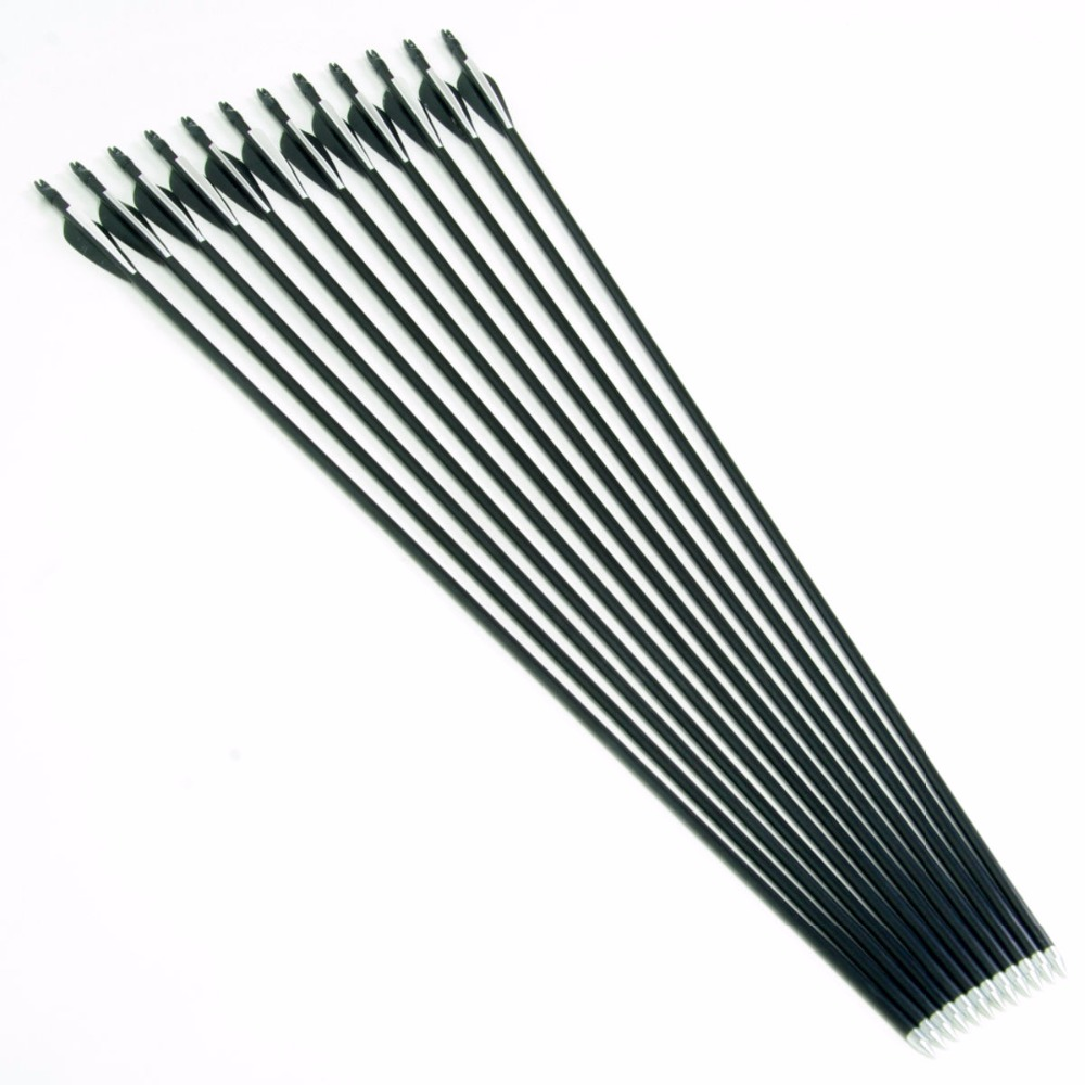 12Pcs pack 31 Fiberglass Arrow Spine 400 With Black and White Plastic For Hunting Shooting Hunting