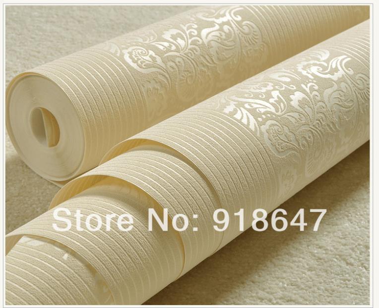 Wholesale Fashion Plain Stripe Flower Wood Fabric Modern Classic Wall Paper Rolls/Wallpaper Bedroom,Living Room 5Rolls/lot(China (Mainland))