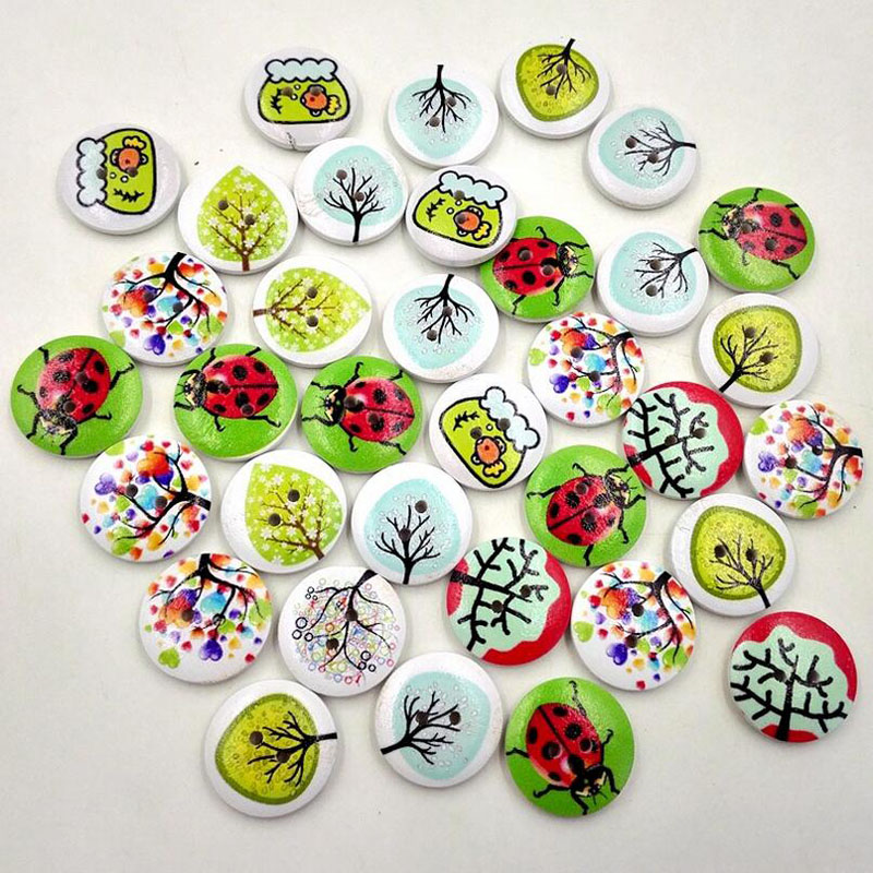 50pcs 2 Holes Mixed Craft DIY Colorful Rural System Wooden Cat Buttons Printing Buttons(China (Mainland))