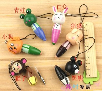 Free shipping Creative Vitamin ball pen,Funny ball point pen,phone chain wooden animals cartoon ball pen,creative stationery