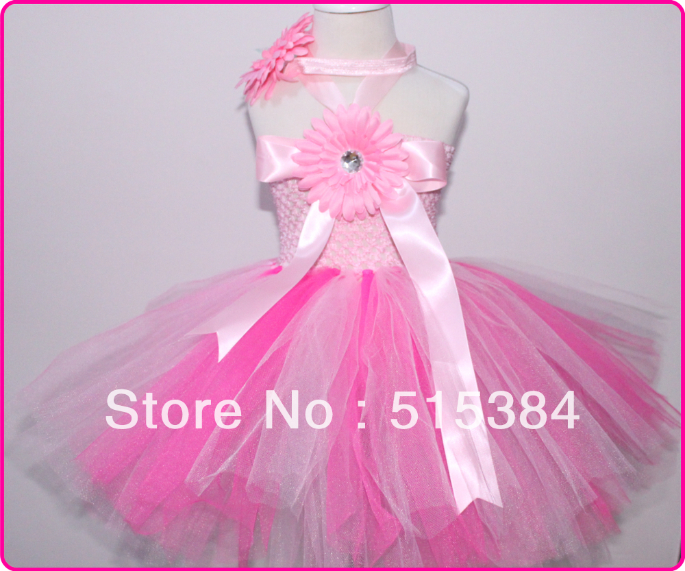 retail baby pink 2layer tutu dress with daisy flower for