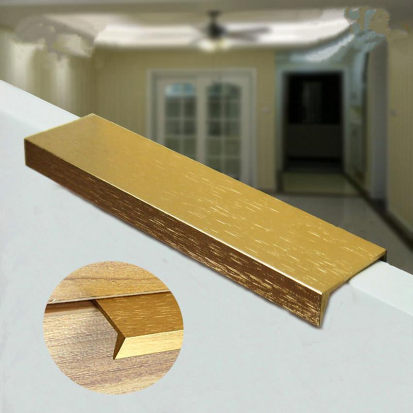 96 128 160mm Modern Simple Cabinet Door Edge Handle Wardrobe Drawer Stain Golden Hidden