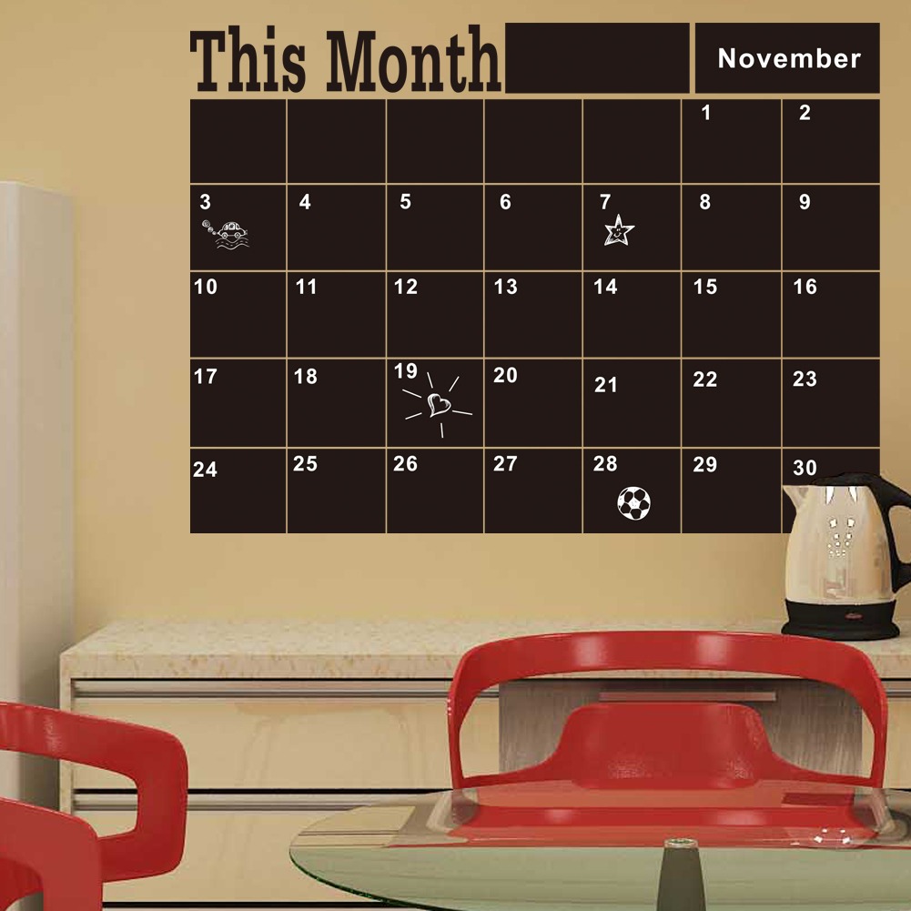 Monthly Chalkboard Board Blackboard Removable Wall Sticke For Vinilos Paredes Month Plan Calendar Chalkboard DIY Home Decor(China (Mainland))