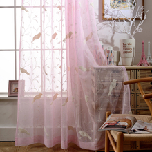 Pastoral style flocked window screens bird embroidery curtain finished product for home living room curtain tulle wp004#20(China (Mainland))