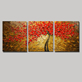 3 piece wall art decor red tree abstract knife acrylic nature painting oil painting on canvas