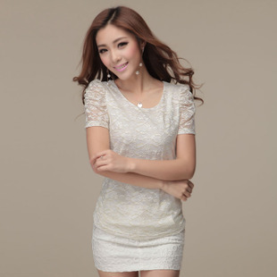 Women's gold embroidered o-neck short-sleeve t-shirt female summer lace plus size