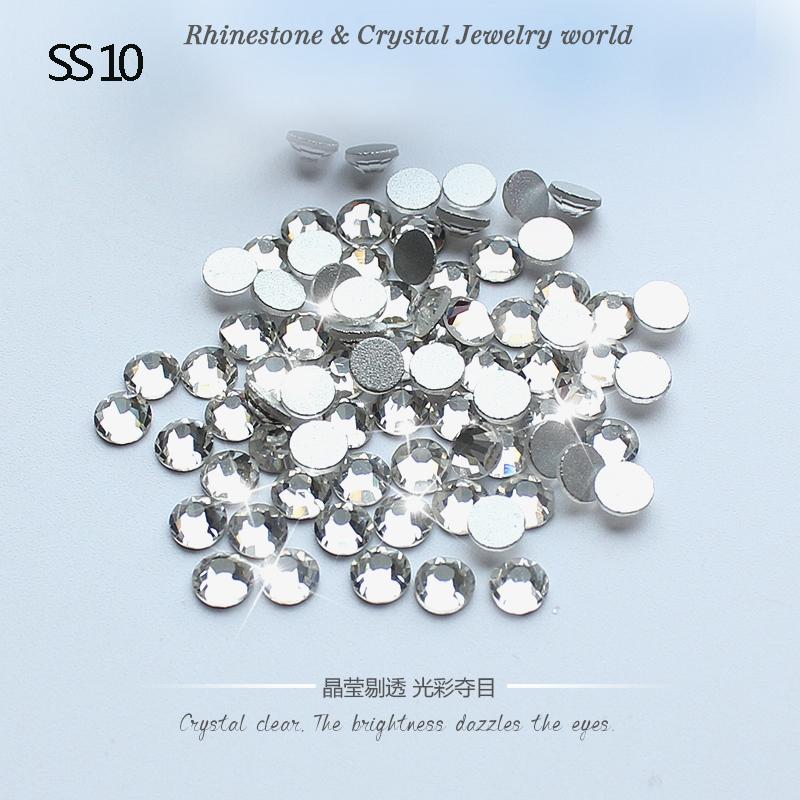 Bling Fashion 1440pcs SS10(2.7mm-2.9mm)3D Nail Art non hotfix rhinestone Crystal Clear glue on flatback rhinestones(China (Mainland))