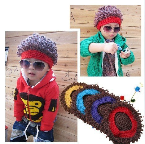 New arrival Funny style Winter Children Kids Baby Knitted Wig caps hat Beanie Berets cap 30pcs/lot Wholesale Free shipping