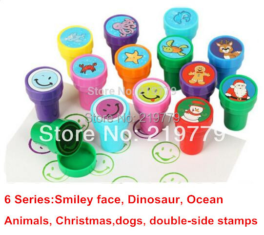 Cartoon Stamps Sets Toy Ocean Animal Dinosaur Christmas Dogs Smiley face Smile Stamper for Kids(China (Mainland))