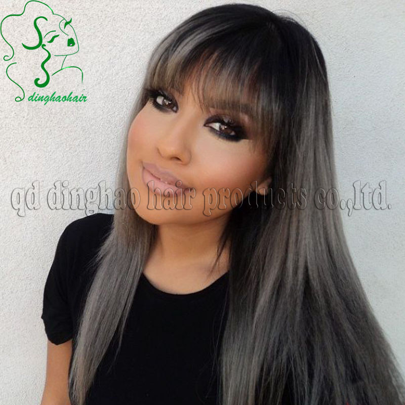 Hotsale dark silver 1b/grey ombre full lace wigs Peruvian virgin grey human hair wigs with full bangs for black/white women