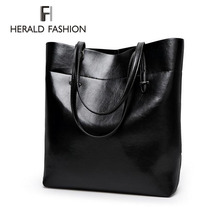 High Quality Leather Women Bag Bucket Shoulder Bags Solid Big Handbag Large Capacity Top-handle Bags Herald Fashion New Arrivals(China (Mainland))