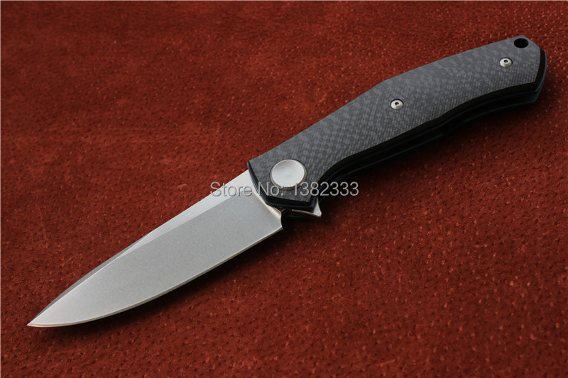 Free shipping, shirogorovF95 knife, blade material D2, handle material carbon fiber + TC4. The outdoor folding knife.(China (Mainland))