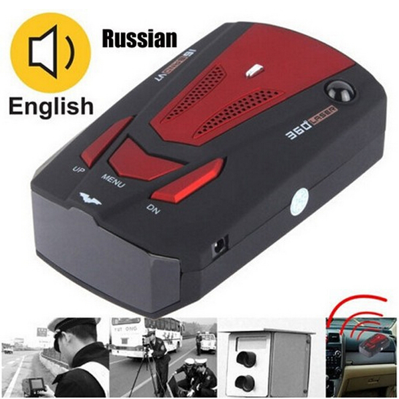 Car detector V7 360 Degree Detection Voice Alert Car Radar Detector anti Russia / English Voice for Car Speed Limited Wholesale()