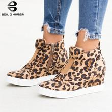 BONJOMARISA 2020 yeni INS sıcak leopar platformu patik kadınlar 2020 sonbahar moda kadınlar ayak bileği takozlar çizmeler ayakkabı kadın 35- 43(China)