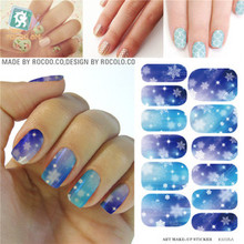 K5725B Water Transfer Foil Nails Art Sticker Christmas Snowflake Flash Diamond Designs Nails Sticker Manicure Decor Decals