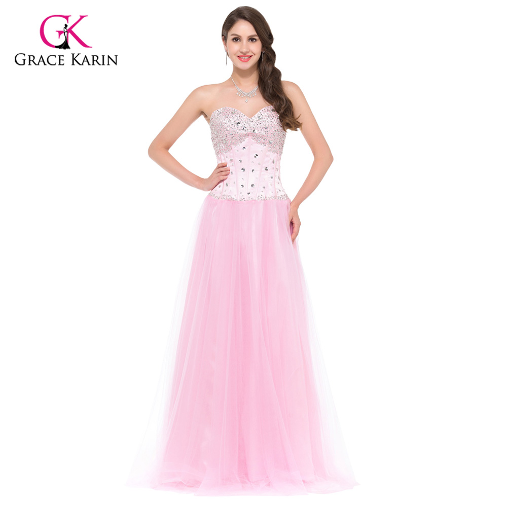 Long Evening Dresses 2017 Grace Karin White Blue Pink Women Corset-style New Arrival Elegant Prom dinner Party Formal Gowns 3519