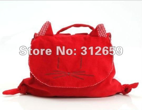 4 Pieces/lot Long Ears Dog & Red Cat Animal Fashion Design Corduroy Cotton Girls Backpacks Bag Wholesale