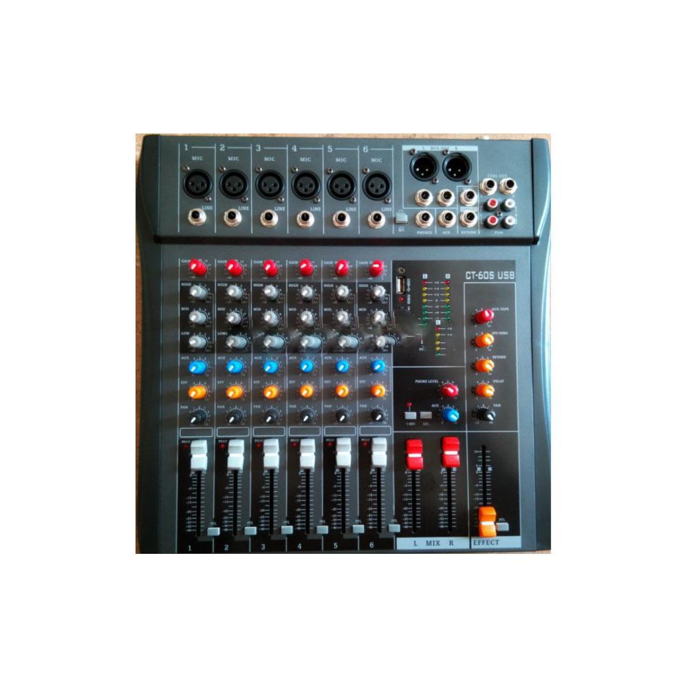 professional 6 channels good quality hot sell USB professional audio dj mixer<br>