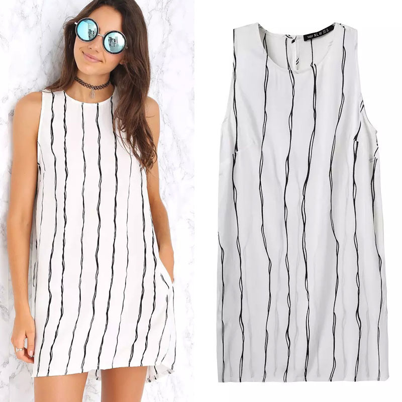 2015 summer new women's fashion fringe striped print O neck sleeveless dresses - Chic Classic Store store