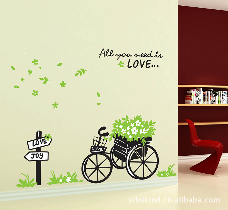Flower basket bike PVC stickers Wall Decal ,Wallpaper, Room Sticker, House 100*80cm AY722 - Lovely Home-Lise store