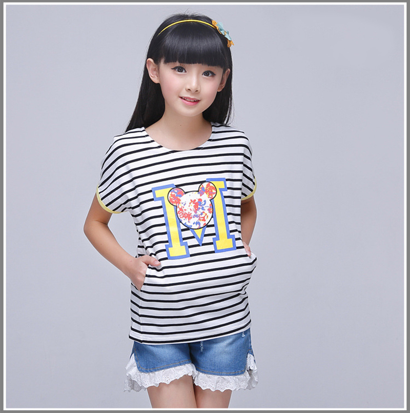 2016 summer children letters t shirts pink yellow striped for Yellow t shirt for kids