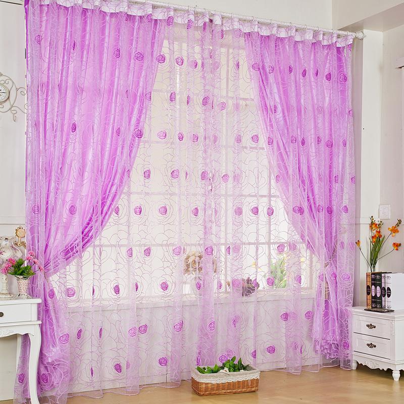 Online kopen wholesale paars gordijnen uit china paars for Romantische gordijnen