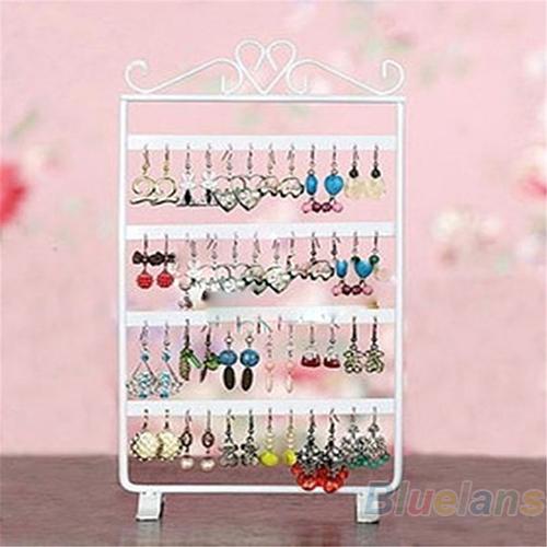 48 Holes Display Rack Metal Stand Holder Closet Jewelry Earrings Organizers Showcase Packaging & Display Wholesale 02CS 48YF(China (Mainland))